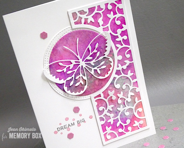 MemoryBoxRightHuttonGate-MemoryBoxRightGateBackground-MemoryBoxHoneycombSquare-MemoryBoxCircleBasics-MemoryBoxWrappedStitchedCircleFrames-BirchPressTimeToCelebrateClearStamps-JeanOkimoto-MemoryBoxDiecutCards-ButterflyCards-WatercoloredCards-WatercolorButterflyCards-ImagineCrafts-DelicataInkpads-BrillianceInkpads-ImpressCardsAndCrafts