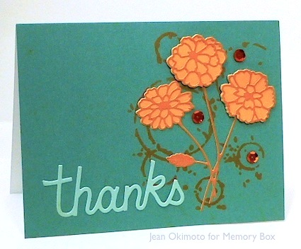 MemoryBox-ZinniaBouquetDie-ThanksCloudDie-DripRingsStencil-BrillianceInkpads-ImagineCrafts-JeanOkimoto