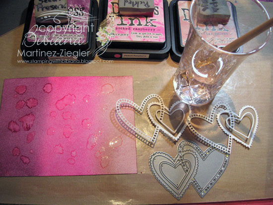 Hearts watercolor splats step 1