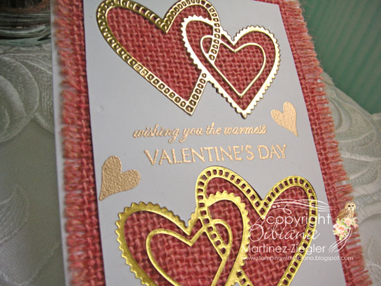 Pink burlap hearts side