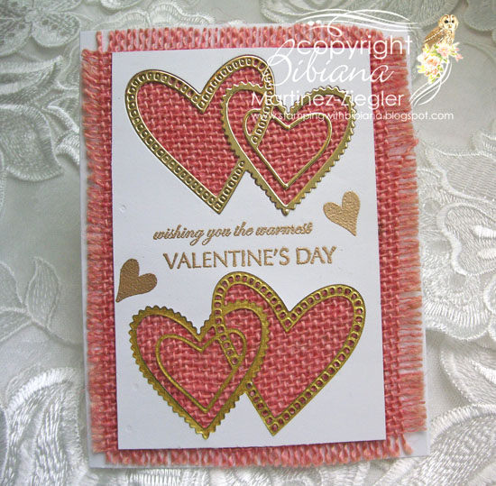 Pink burlap hearts last