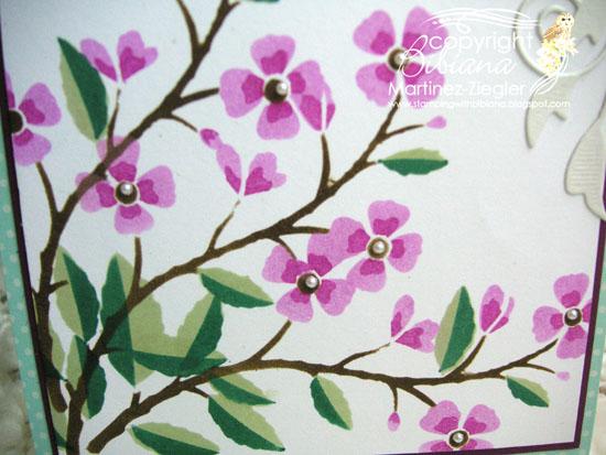 Cherry branch stencil detail