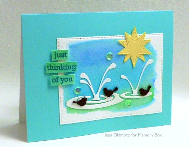 MemoryBoxRestingBirds-MemoryBoxSplashingPuddles-OpenStudioStitchedStarLayers-OpenStudioSmile-OpenStudioStitchedRectangleLayers-JeanOkimoto-ImagineCrafts-PeerlessWatercolors