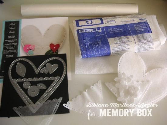 Felt white heart supplies 1