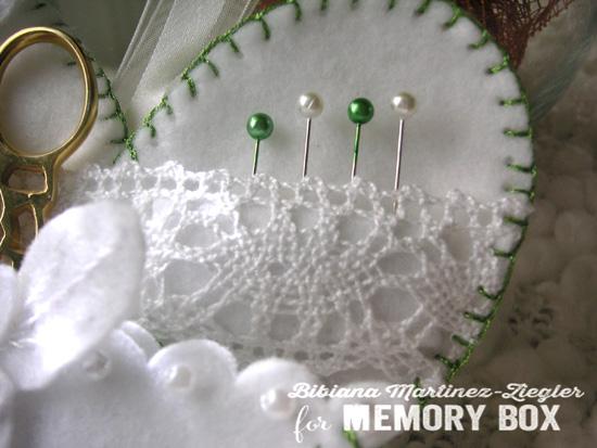 Felt white heart detail pins