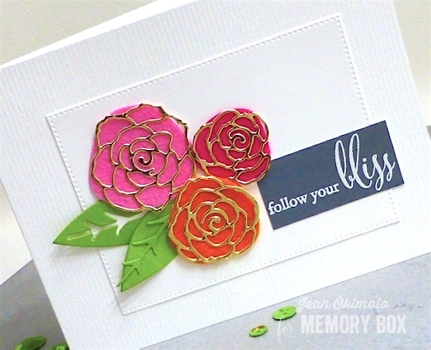 MemoryBoxPlushPerfectGardenia-MemoryBoxEnglishRoseBouquet-MemoryBoxLargeBillowFlowerBackground-MemoryBoxFollowYourBliss-JeanOkimoto-VersaMark-FeltFlowers