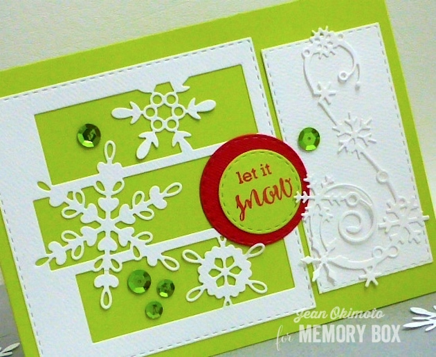 MemoryBoxSnowflakeSpectacle-MemoryBoxElegantSnowflakeFlourish-MemoryBoxOpenStudioMakingSpiritsBrightStamps-MemoryBoxOpenStudioStitchedSquareLayers-MemoryBoxOpenStudioStitchedCircleLayers-JeanOkimoto-MemoryBoxHoliday2016