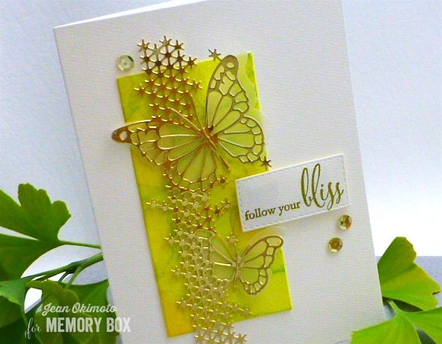 MemoryBoxSilverSpringsButterfly-MemoryBoxButterflyEnsemble-MemoryBoxFollowYourBliss-MemoryBoxLeavenworthButterflyTrio-MemoryBoxOpenStudioStitchedRectangleLayers-JeanOkimoto-ImagineCrafts-ImpressCardsAndCrafts-Watercolors