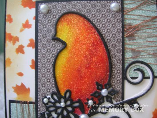 Fall bird glitter detail