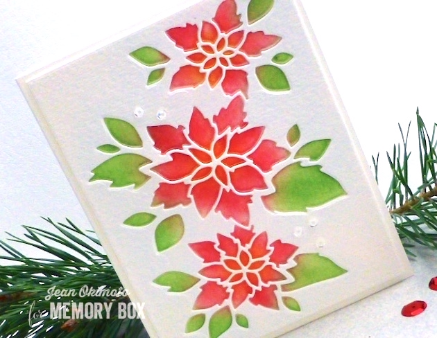 MemoryBoxSeptember2016Release-MemoryBoxPoinsettiaCollage-MemoryBoxOpenStudioStitchedRectangleTrimmings-ImagineCraftsBrillianceInkpads-JeanOkimoto