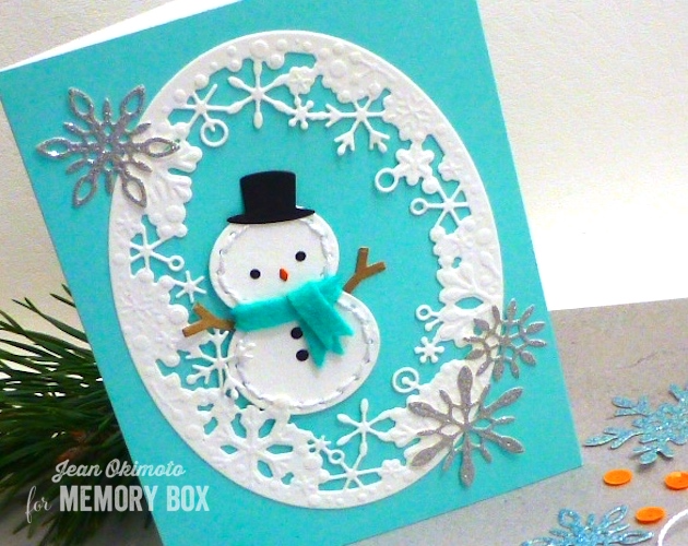 MemoryBoxPlushSheldon-MemoryBoxDelicateStitchedSnowflakes-MemoryBoxDancingSnowflakeOval-JeanOkimoto-FeltDiecuts-Snowmanm