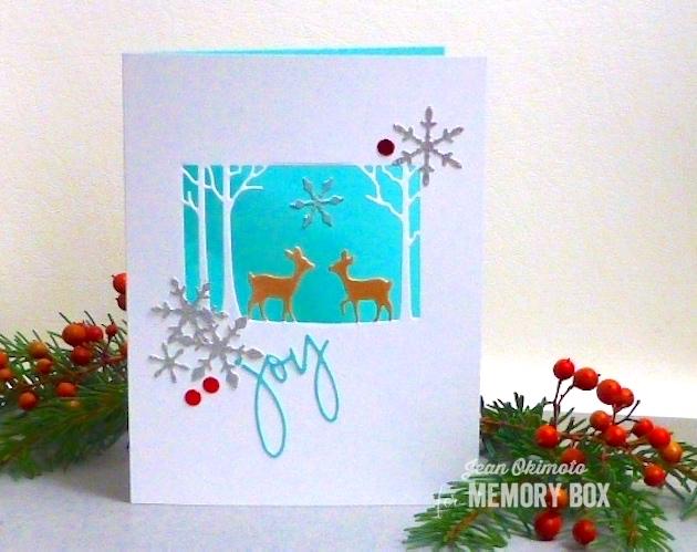 MemoryBoxImpressExclusiveDie-MemoryBoxSnowBurst-MemoryBoxSketchbookJoy-MemoryBoxOpenStudioDistressedBaptisiaCollage-JeanOkimoto-ImpressCardsAndCrafts-ImagineCrafts-DeerCard-SnowflakeCard