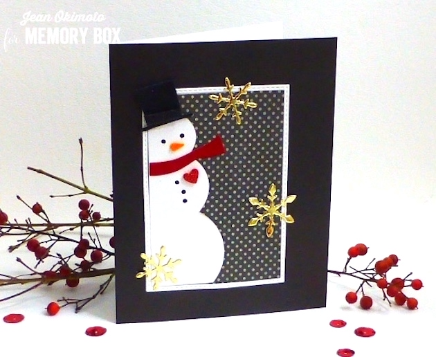MemoryBoxSnowmanCollage-MemoryBoxSnowBurst-MemoryBoxStitchedRectangleTrimmings-MemoryBoxNotecards-JeanOkimoto-SnowmanCards