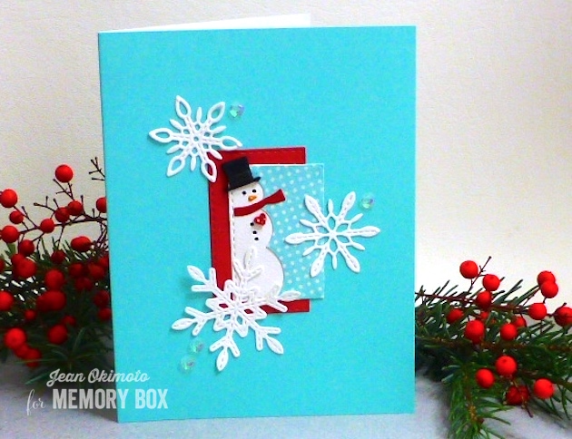 MemoryBoxMiniSnowmanCollage-MemoryBoxDelicateStitchedSnowflakes-MemoryBoxOpenStudioStitchedRectangleLayers-SnowmanCards-JeanOkimoto-ImpressCardsandCrafts