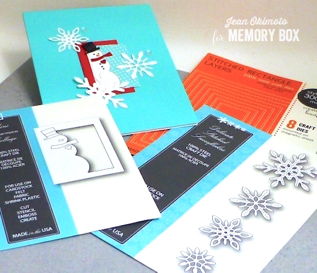MemoryBoxMiniSnowmanCollage-MemoryBoxDelicateStitchedSnowflakes-MemoryBoxOpenStudioStitchedRectangleLayers-JeanOkimoto-SnowmanCards