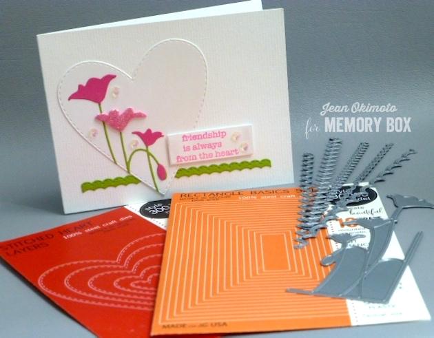 MemoryBoxTallLeftPoppyCorner-MemoryBoxSoManyThingsToLoveStampSet-MemoryBoxOpenStudioStitchedHeartLayers-MemoryBoxOpenStudioStitchedCountryBorders-MemoryBoxRectangleBasics-JeanOkimoto-DiecutValentines-FriendshipCards