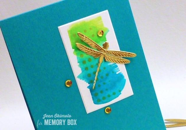 MemoryBoxDazzlingDragonfly-MemoryBoxModernBorderTrim-MemoryBoxRectangleBasics-JeanOkimoto-ImagineCraftsKaleidacolor-ImagineCraftsDelicata-WatercoloredCards-DragonflyCards