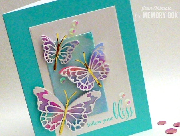 MemoryBoxMorningGardenButterflies-MemoryBoxButterflyEnsemble-MemoryBoxFollowYourBliss-MemoryBoxRectangleBasics-JeanOkimoto-ImagineCrafts-PeerlessWatercolors-WatercoloredButterflies-WatercoloredCards-ImpressCardsAndCrafts