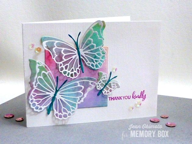 MemoryBoxMorningGardenButterflies-MemoryBoxButterflyEnsemble-MemoryBoxSquareBasicsSet-MemoryBoxWatchingTheWorldBloomStampSet-JeanOkimoto-WatercoloredCards-WatercoloredButterflies-ButterflyCards-WatercoloredButterflyCards-GlitteredCardstock-ImpressCardsAndCrafts-ImagineCrafts