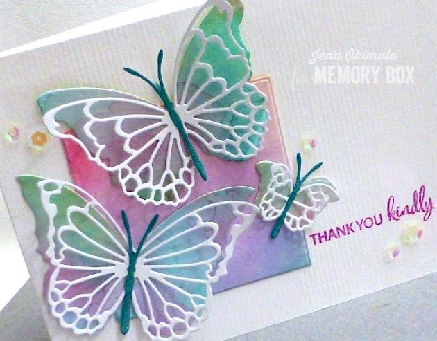 MemoryBoxMorningGardenButterflies-MemoryBoxButterflyEnsemble-MemoryBoxWatchingTheWorldBloomStampSet-MemoryBoxSquareBasicsSet-JeanOkimoto-WatercoloredButterflies-WatercoloredCards-WatercoloredButterflyCards-ImageineCrafts-ImpressCardsAndCrafts