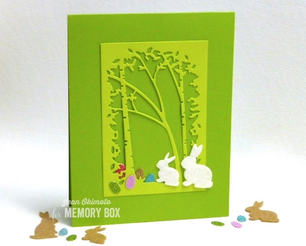 MemoryBoxSaplingCollage-MemoryBoxSpringtimeBunnies-MemoryBoxClutchOfEggs-MemoryBoxRectangleBasics-JeanOkimoto-EasterCards-FeltBunnyCards-DiecutEasterCards