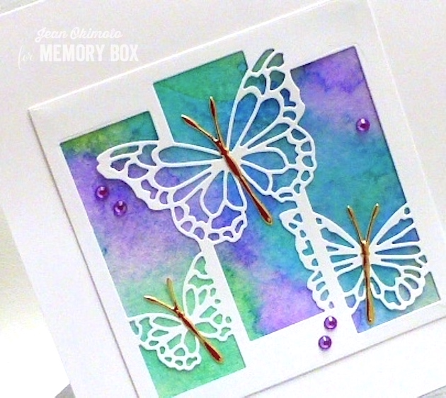 MemoryBoxButterflySpectacle-MemoryBoxMorningGardenButterflies-MemoryBoxSquareBasics-JeanOkimoto-WatercoloredCards-ButterflyCards-WatercoloredButterflyCards-Kaleidacolor-ButterflyDiecuts-ButterflyCraftDies