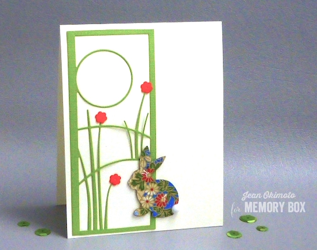 MemoryBoxGrasslandCollage-MemoryBoxSketchBunnyBackground-JeanOkimoto-SpringCards-DiecutSpringCards-AsianSpringCards-ImpressCardsAndCrafts