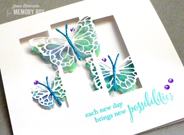 MemoryBoxButterflySpectacle-MemoryBoxButterflyEnsemble-MemoryBoxMorningGardenButterflies-MemoryBoxNewBeginnings-JeanOkimoto-WatercoloredButterflies-WatercoloredButterflyCards-WatercoloredButterflyDiecuts-BrillianceInkpads