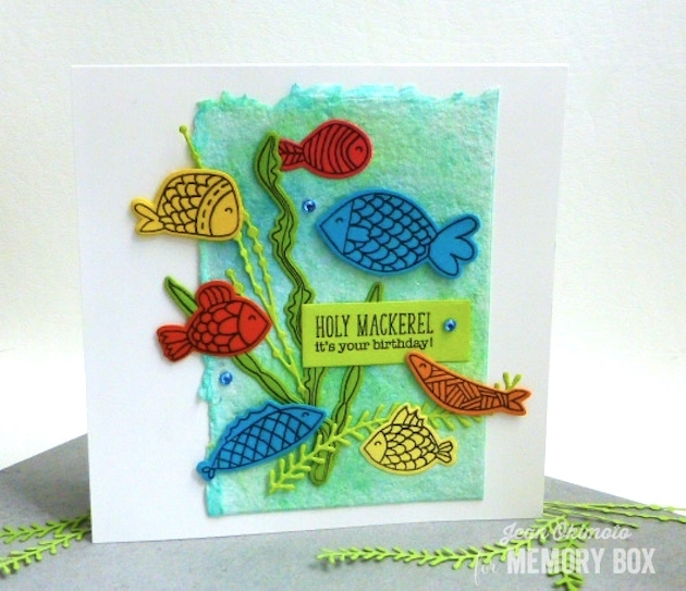 MemoryBoxFishTales-MemoryBoxOpenStudioRectangleBasics-MemoryBoxSeaweedStalks-JeanOkimoto-PeerlessWatercolors-WatercoloredBackgrounds-FishCards-DiecutFishCards-ImpressCardaAndCrafts-ImagineCrafts-ShizenDesign
