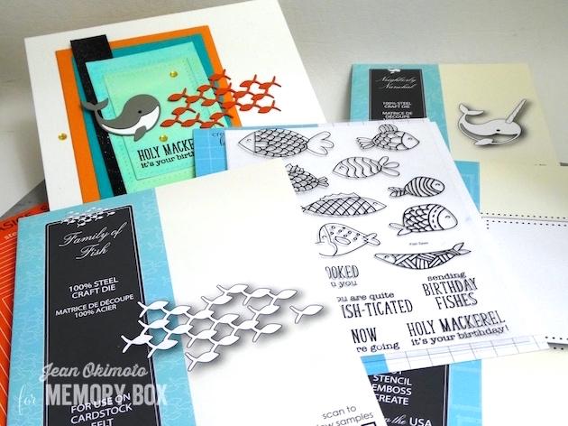 MemoryBoxFamilyOfFish-MemoryBoxNeighborlyNarwhal-MemoryBoxOpenStudioFishTalesClearStampSet-MemoryBoxRectangleBasics-MemoryBoxSinglePinpointFrame-JeanOkimoto-PeerlessWatercolors-VersaFine-WatercoloredBackgrounds-WatercoloredBirthdayCards-FishCards