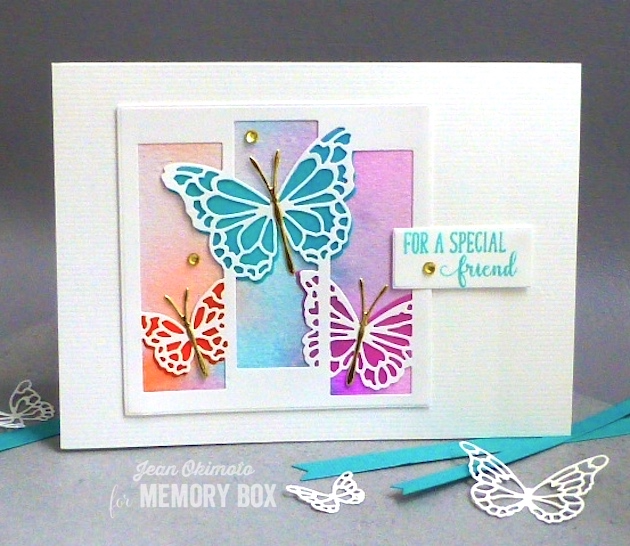 MemoryBoxButterflySpectacle-MemoryBoxButterflyEnsemble-MemoryBoxMorningGardenButterflies-MemoryBoxOpenStudioSpringLilacs-MemoryBoxRectangleBasics-MemoryBoxSquareBasics-JeanOkimoto-WatercoloredCards-ButterflyCards-WatercoloredButterflyCards-Kaleidacolor-ButterflyDiecuts-ImpressCardsAndCrafts