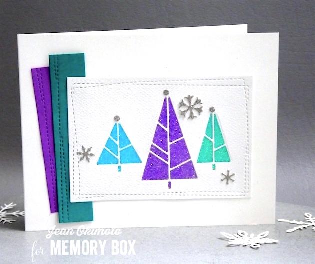 MemoryBoxHoliday2017-MemoryBoxDecoTrees-MemoryBoxWrappedStitchRectangles-MemoryBoxSnowdriftBreeze-JeanOkimoto-MemoryBoxChristmasCards-GlitteredChristmasCards-DiecutGlitter-DiecutChristmasCards-CASChristmasCards