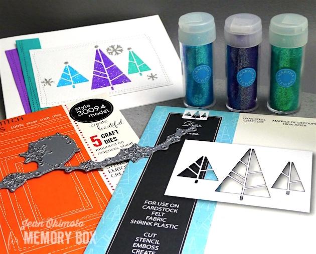 MemoryBoxHoliday2017-MemoryBoxDecoTrees-MemoryBoxWrappedStitchRectangles-MemoryBoxSnowdriftBreeze-JeanOkimoto-MemoryBoxHolidayCards-DiecutCards-DiecutChristmasCards-MarthaStewartGlitter