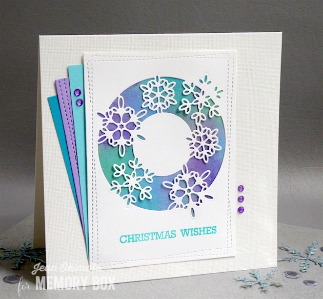 MemoryBoxSnowflakeLens-MemoryBoxWrapped StitchRectangles-MemoryBoxOpenStudio BlessedToKnowYouClearStamps-JeanOkimoto-MemoryBoxHoliday2017-MemoryBoxChristmasCards-WatercoloredChristmasCards-PeerlessWatercolors-ImagineCrafts-SnowflakeCards-DiecutSnowflakeCards-ImpressCardsAndCrafts