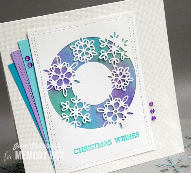 MemoryBoxSnowflakeLends-MemoryBoxWrappedStitchRectangles-MemoryBoxOpenStudioBlessedToKnowYouClearStamps-JeanOkimoto-MemoryBoxHoliday2017-MemoryBoxChristmasCards-SnowflakeCards-WatercoloredCards-DiecutSnowflakeCards