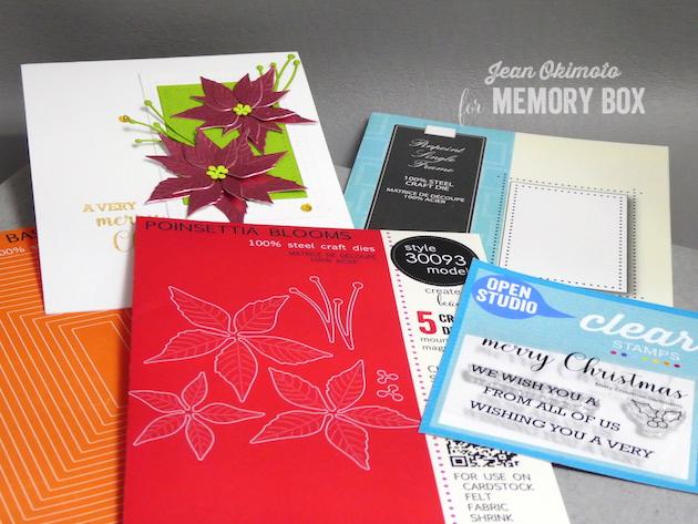 MemoryBoxPoinsettiaBlooms-MemoryBoxRectangleBasics-MemoryBoxOpenStudioMerryChristmasSentimentsClearStamps-MemoryBoxPinpointSingleFrame-JeanOkimoto-MemoryBoxHoliday2017-MemoryBoxChristmasCards-PoinssettiaCards-DiecutPoinsettiaCards-DiecutChristmasCards
