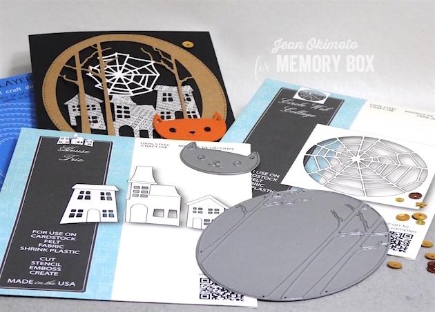 MemoryBoxWhimsyCat-MemoryBoxCircleWebCollage-MemoryBoxWoodlandOval-MemoryBoxStitchedOvalLayers-MemoryBoxHouseTrio-JeanOkimoto