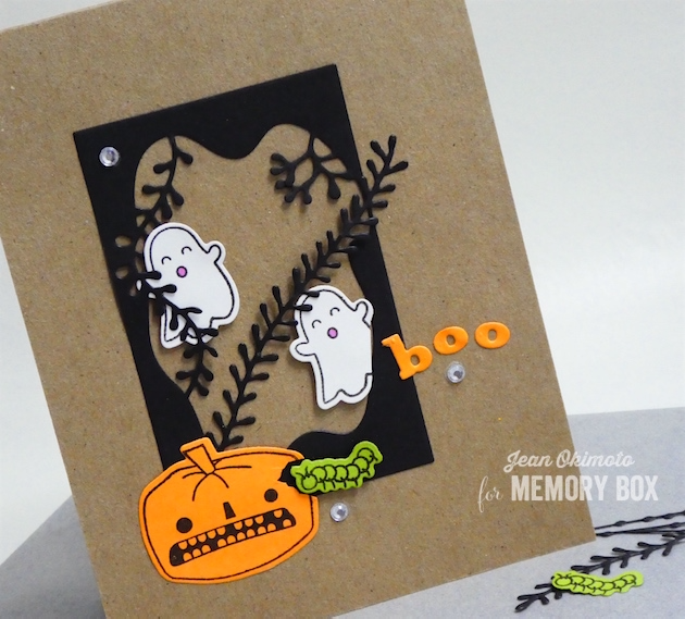 MemoryBoxSeaweedCollage-MemoryBoxSeaweedStalks-MemoryBoxRectangleBasics-MemoryBoxHalloweenSideshowClearStamps-MemoryBoxHalloweenSideshowDies-MemoryBoxPlayfulBoo-JeanOkimoto-ImagineCraftsVersaFine-DiecutHalloweenCards-MemoryBoxCoHalloweenCards