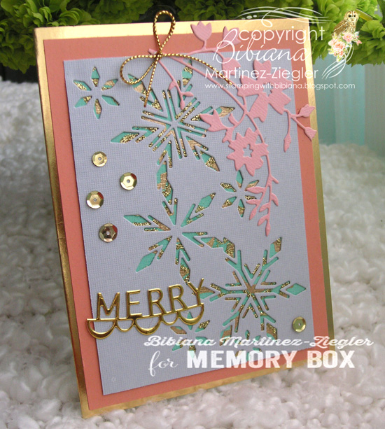 Xmas peach snowflakes side