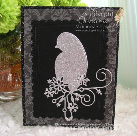 Xmas bird black silver front