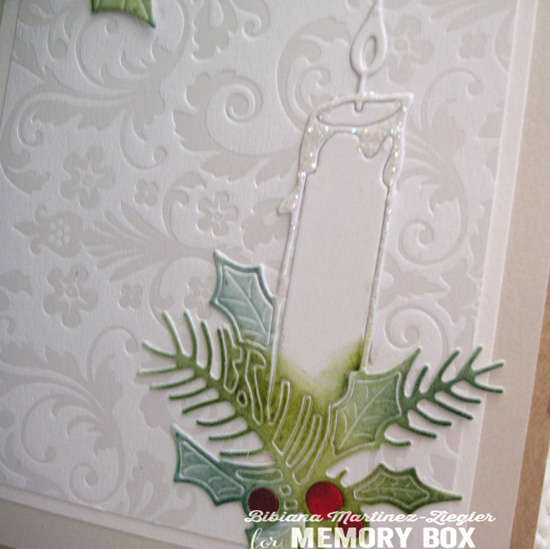 Xmas white candle detail
