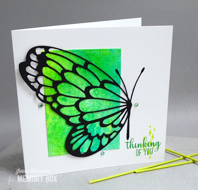 MemoryBoxBigButterflyWing-MemoryBoxWrappedStitchRectangles-MemoryBoxOpenStudioBirdSanctuaryClearStamps-JeanOkimoto-VersaFineClair-Kaleidacolor-ImagineCrafts-ButterflyCards-WatercoloredButterflyCards-ButterflyDiecuts-ButterflyDiecutCards-ImpressCardsAndCrafts