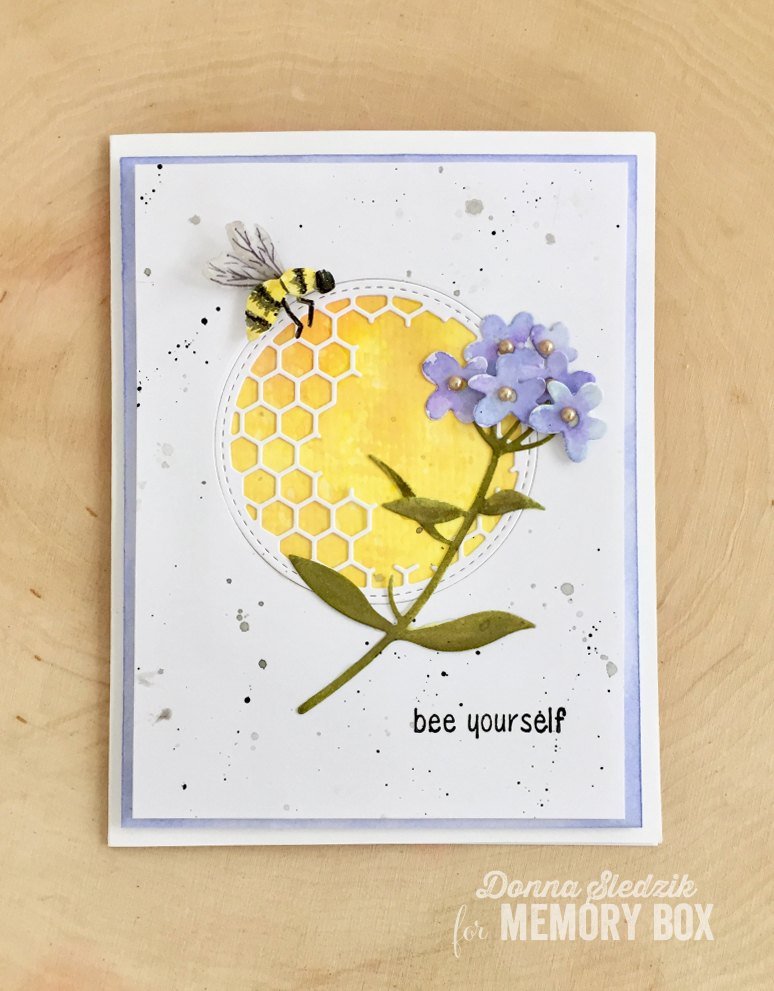 Bee yourself by donna sledzik outside the box to create this card i die cut the honeycomb stitched circle frame in the center of white cardstock next i die cut the sweet honeybee and forget me not solutioingenieria Images