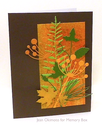 MemoryBox-JeanOkimoto-DelicateFern-TallChloeStem-MarvelousMapleLeaves-PIneNeedles-Grapevine-DripRingsStencil-Dies-Watercolors