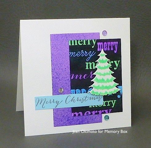 MemoryBox-MerryBackground-FrostedSpruceTree-MerryChristmas-JeanOkimoto-ImagineCrafts-RadiantNeons-FireworksSpritz-Christmas-Techniques-Diecuts