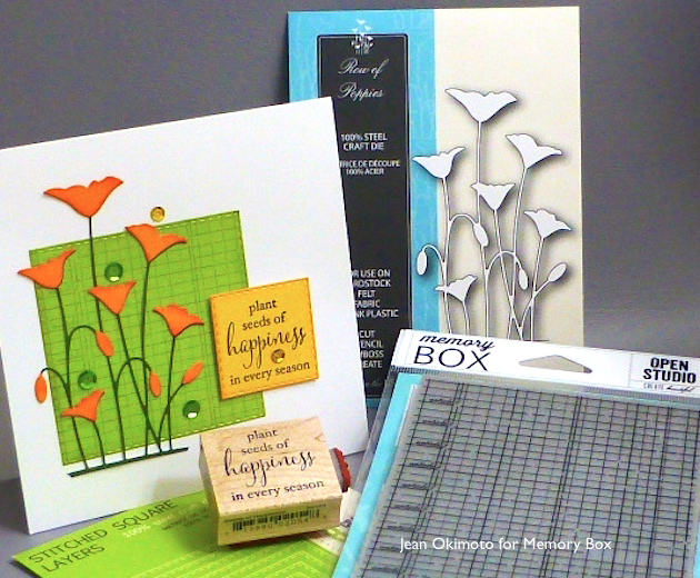 MemoryBoxRowOfPoppies-MemoryBoxSeedsOfHappiness-OpenStudioArticlesLedger-OpenStudioStitchedSquareLayers-JeanOkimoto-ImagineCrafts0-MementoDyeInkpads