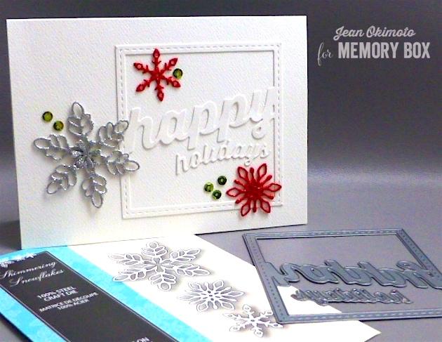 MemoryBoxStitchedHappyHolidaysSquareFrame-MemoryBoxShimmeringSnowflakes-JeanOkimoto-GlitteredCraftFoam