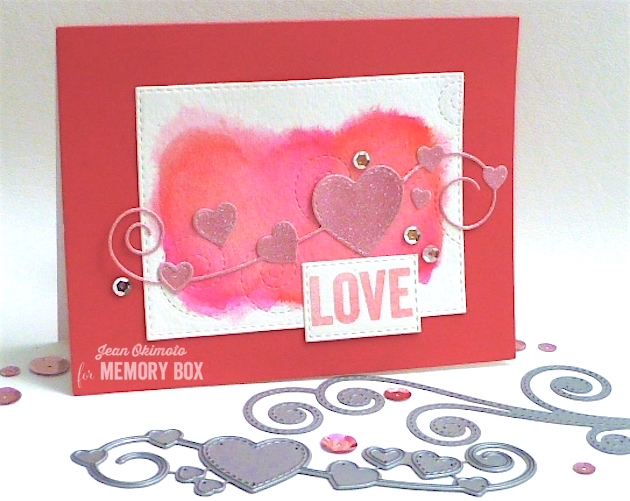 MemoryBoxHomespunHearts-MemoryBoxSwirlingStitches-OpenStudioStitchedRectangleLayers-OpenStudioSmileClearStamps-JeanOkimoto-PeerlessWatercolors-ImagineCrafts