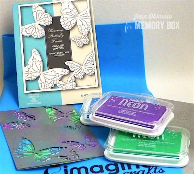 MemoryBoxHoveringButterflyFrame-MemoryBoxNewPossibilities-MemoryBoxDarlaButterfly-MemoryBoxPinpointRectangleLayers-JeanOkimoto-RadiantNeons-ImagineCrafts-ImpressCardsAndCrafts