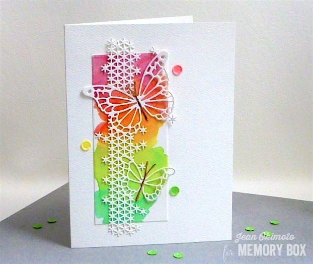 MemoryBoxSilverSpringsButterfly-MemoryBoxFairylandButterflies-JeanOkimoto-PeerlessWatercolors-RoseGoldMirrorCardstock